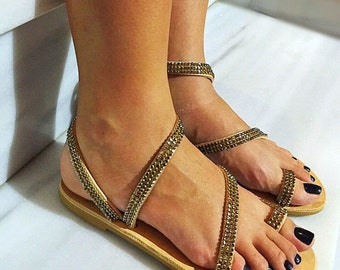 Rhinestones Gladiator Sandals, Leather Sandals, Barefoot Greek Sandals, Flat Strappy Sandals made from Real Cowleather.