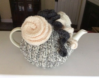 Knitted Roses Tea Cosy Fits 4-6 cup pot. Hand Knitted