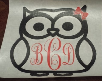 Personalized Decal, Monogram decal, Owl decal, Owl window decal, Owl laptop decal, Owl decor, Owl sticker, Owl monogram, Owl car decal, Owl