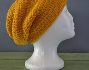 Crochet Slouchy Beanie Mustard Yellow