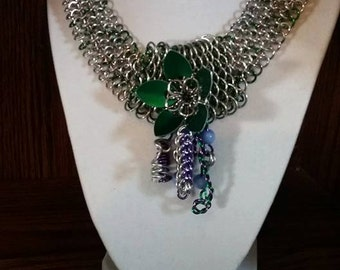 Chainmaille Flower Fantasy necklace