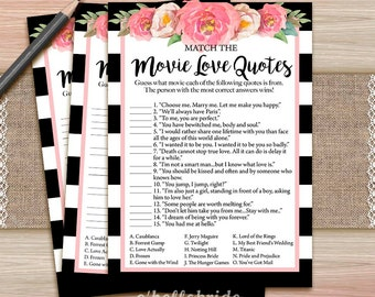 Movie love quote match game printable coral blush bridal movie love quote match game printable black white pink floral bridal shower movie quote game stopboris Choice Image