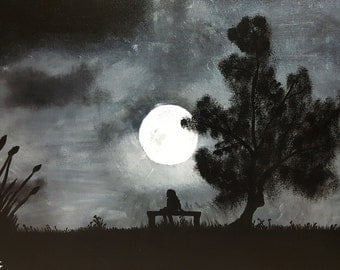 Girl under the moon.. Canvas Painting