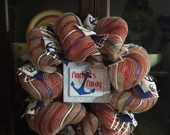 FREE SHIPPING on this Anchors away my Love #/2   4in1 wreath