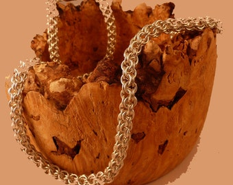 Chain maille necklace - open maille pattern in sterling silver