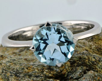 Natural Earth Mined Swiss Blue Topaz Ring, December Birthstone Ring, Bridal Ring, Engraved Ring, Engagement Ring, Anniversary gift for Women