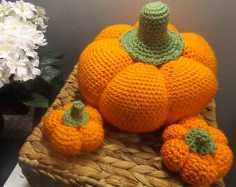 Crochet pumpkins, 3 (three) pumpkins, fall decor, Halloween decor