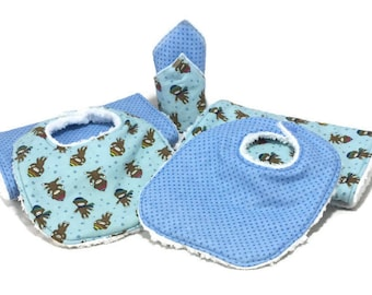 Baby Shower Gift Set, 8 piece set, baby gift, Baby Accessories, Sock Monkey, Burp Cloths, Baby Bibs, baby wash cloths, cloth wipes