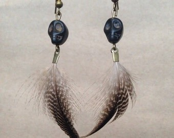 Black Skull and Feather Earrings