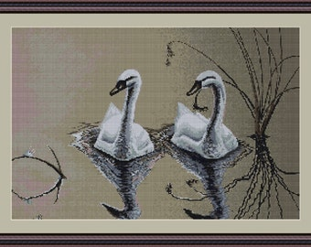 Luca-S Counted Cross Stitch Kit Swans Pair B346 Lucas