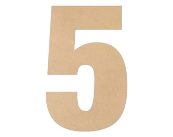 """1"""" - 34"""" Wooden Number 5, Nursery, Kids Room, Wedding Decoration, Large or Small, Ornaments, DIY, Unfinished Wood, Door Wall Hanger # 2068"""