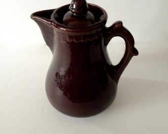 Sale 20% Off 1900-1930 Bennington Handmade Pottery Vintage Dark Brown Glaze Heavy Coffee/Teapot