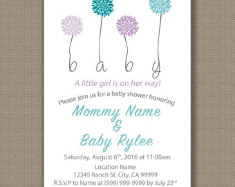 Baby Shower Invitation _Download Only_ dahlia flower