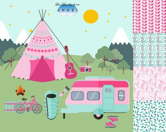 Sale of camping-themed clipart images
