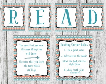 """Coral, Blue and Gray Reading set - """"Read"""" sign, Reading Corner Rules, and Reading quote - Teacher decor, classroom decor"""