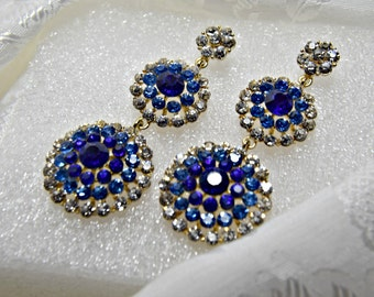 art deco earrings,  gatsby earrings, sapphire blue crystal wedding earrings, 1920s roaring 20s statement sapphire blue crystal chandelier