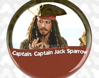 "Pirates of the Caribbean Johnny Depp ""Captain, Captain Jack Sparrow"" Inspired Disney Parks Celebrations Pinback Button"