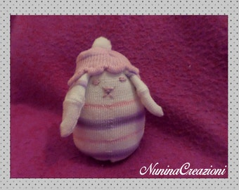 Sweet Bunny stuffed with hat made with sock