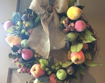 Fruit Wreath with Burlap Bow