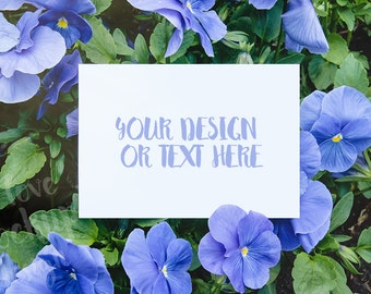 White card on the Background of Flowers / Blue Flowers / Card Mockup / Stock Photography / Product Mockup / High Res File
