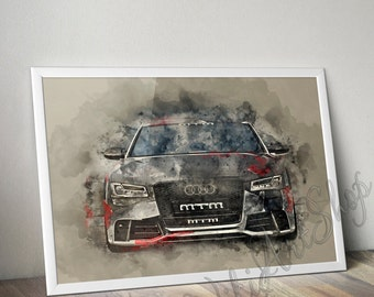 Audi Watercolor Art Poster, Audi S8 Print, Auto Art Poster, Car print, Boy Room Decor, Gift for teenager, Audi Print, Canvas Print