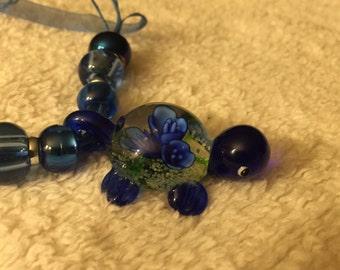 Blue Lampwork Murano Glass Turtle Pendant Necklace