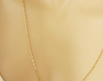Only Gold Fill Chain Necklace Delicate Gold Jewelry  Sterling Silver Choker Wedding Party Gift Bridesmaid Necklace Thin or Thick Long Chain