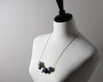 bead necklace with polymer clay beads in silver, marble, black and grey/gifts for her/bridesmaid gifts