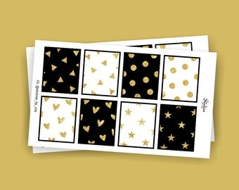 Black and Gold Glitter Planner Stickers for use with Erin Condren LifePlanner™   Full Box Stickers   KA20