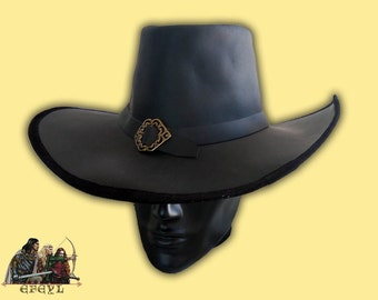 Van Helsing style genuine leather hat witch hunter