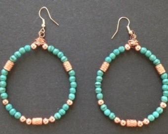 Southwestern Turquoise Copper Beaded Hoop Earrings