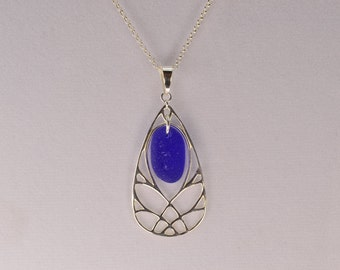 Royal blue genuine sea glass pendant / silver sterling and chain rolo
