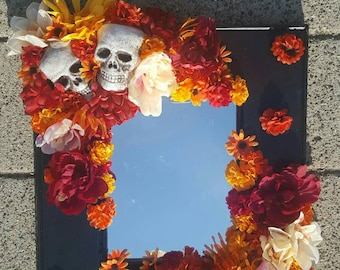 Day of the dead mirror - skeleton mirror - fall mirror - halloween mirror - gothic fall halloween mirror