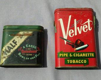 Vintage pair of tobacco tins Velvet and Half and Half
