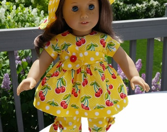 Summer Daze yellow outfit with capris and hat that fits 18 inch dolls