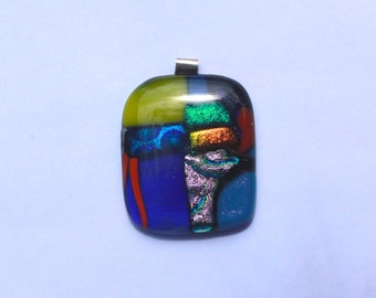 Bold statement dichroic glass abstract pendant