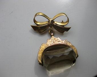 antique gold  fob broach