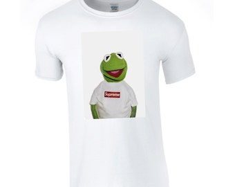 Supreme Kermit White Tee printed on Gildan