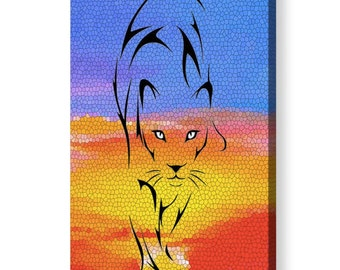 Sunset Lioness Artwork on Acrylic Glass