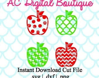 Set of 4 Apples Digital Cut File--Instant Download--SVG, DXF, PNG Files for Cutting Machine Software