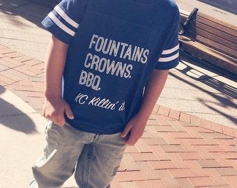 Kansas city baby etsy 4t fountains crowns bbq kansas city shirt toddler shirt boy girl negle Choice Image