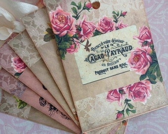 French Gift Tags/ Cafe' Floral Tags/ Paris Inspired Tags/ French Inspired Tags/Vintage Style Tags/French Bookmarks/ Set of 6