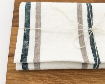 Linen kitchen dish towel with stripes - tea towel for your kitchen