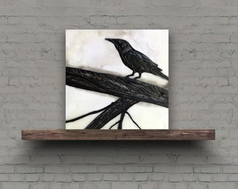 BIRD ON BRANCH - Original Encaustic Painting Black & White, 6x6in