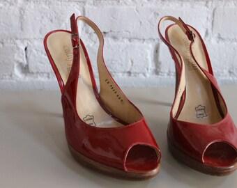 Red Peep Toe Size 8 Heels