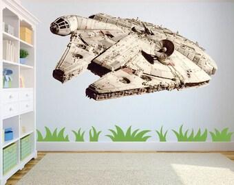 Star Wars Millenium Falcon wall art/decal sticker kids bedroom/playroom w65cm x h36cm