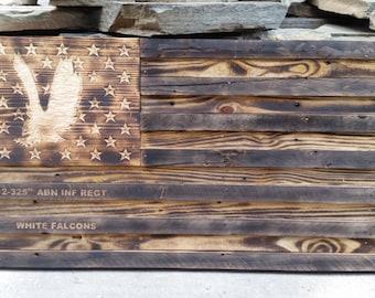 "Wooden 2-325th AIR ""White Falcons"" American Flag"