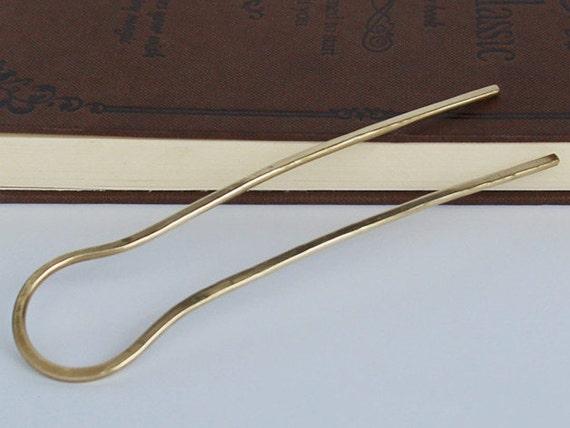 U shape hair fork brass stick hammered bun holder