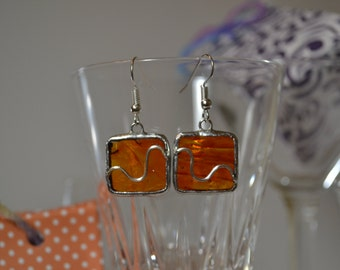 Earrings of glass and Tin. Square Orange