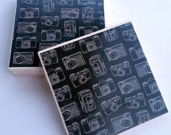 black and white camera ceramic coasters